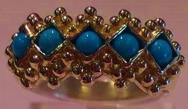 Bague turquoise cinq cabochons bijoux regionaux calais