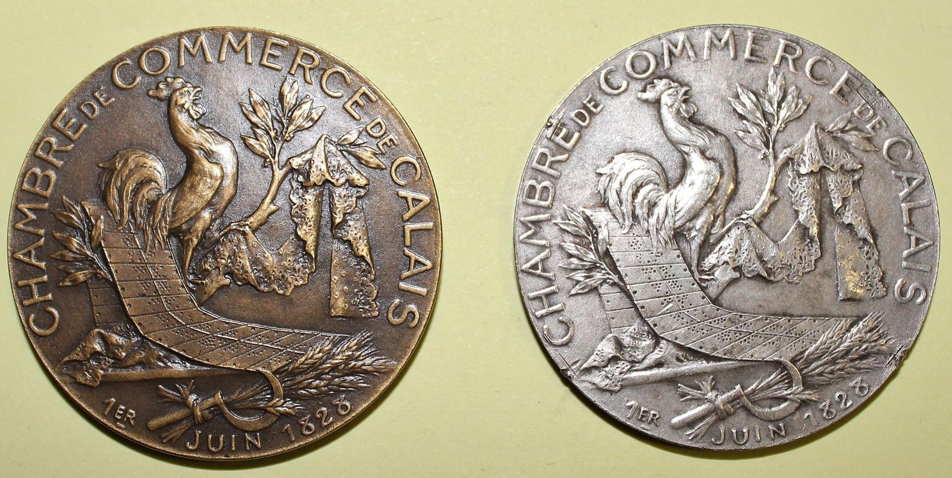Calais 1828 deux medailles de la chambre de commerce bronze et argent