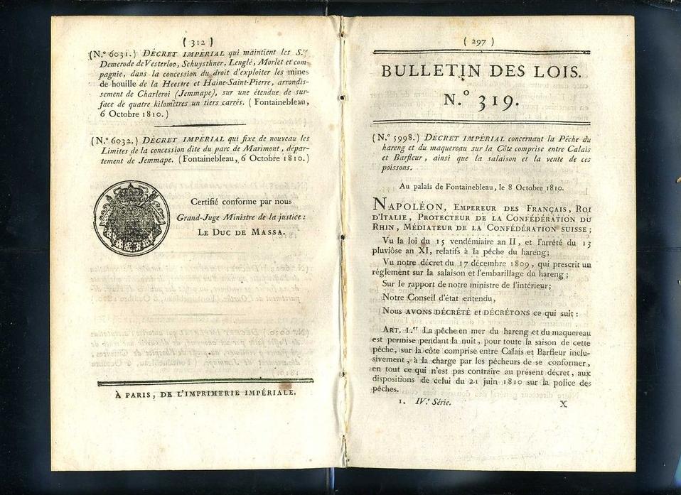 Calais bulletin de lois concernant la peche du hareng et du maquereau