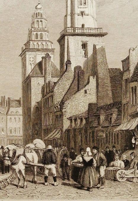 Calais gravure jolie vue ancienne de calais dessin de clarkson stanfiel 1834 matelote en coiffe debut 19eme