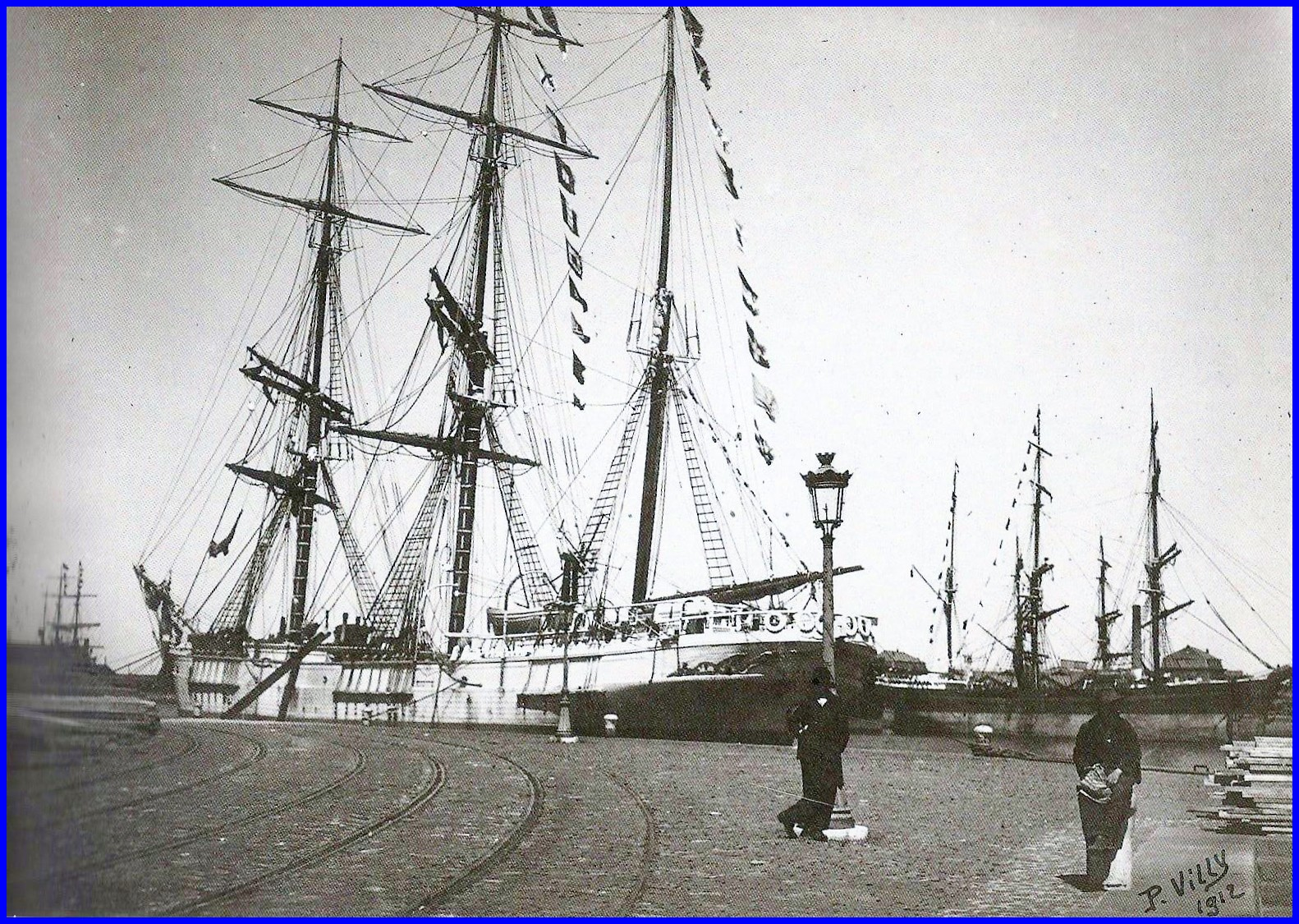 Calais trois mats barque en bois 1912 encadre