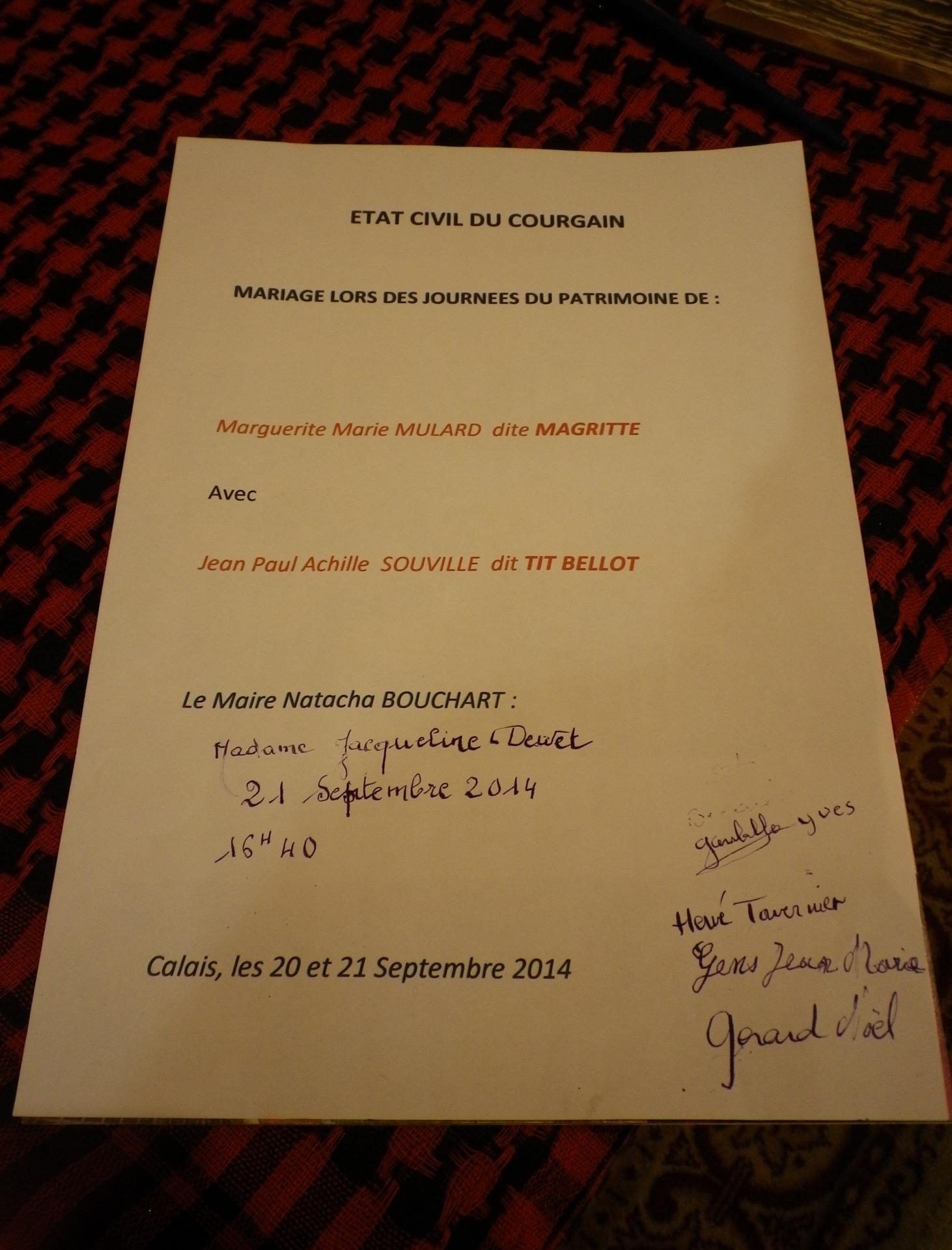 Mariage courguinois par madame jacqueline dewet